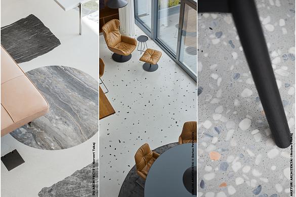 Terrazzo betono grindų sistemos interjere  